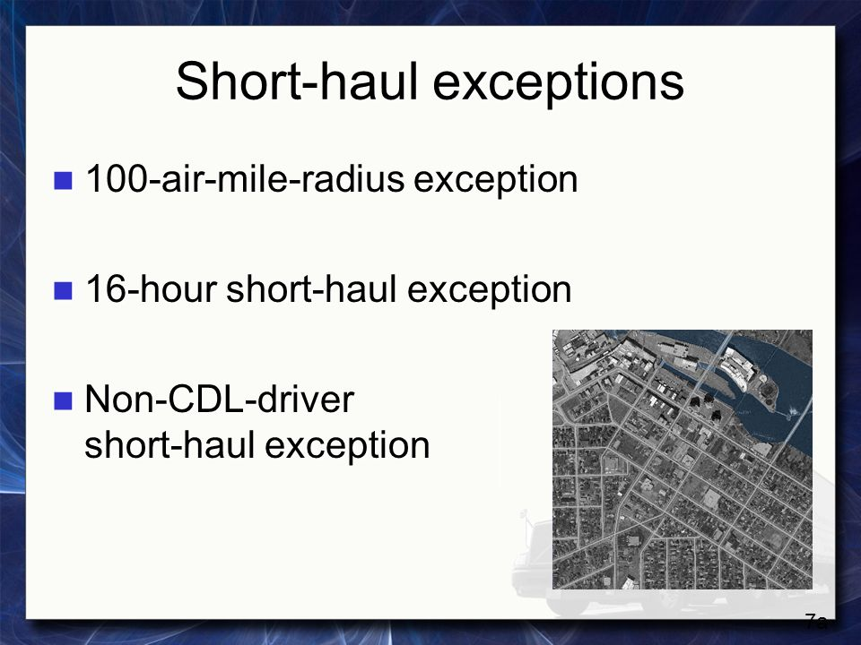 Short-haul exceptions