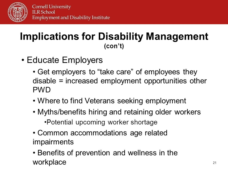 Implications for Disability Management (con't)