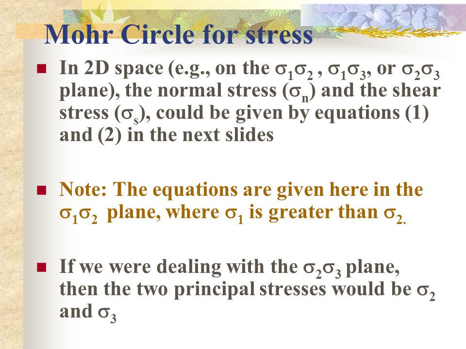 Mohr Circle for stress