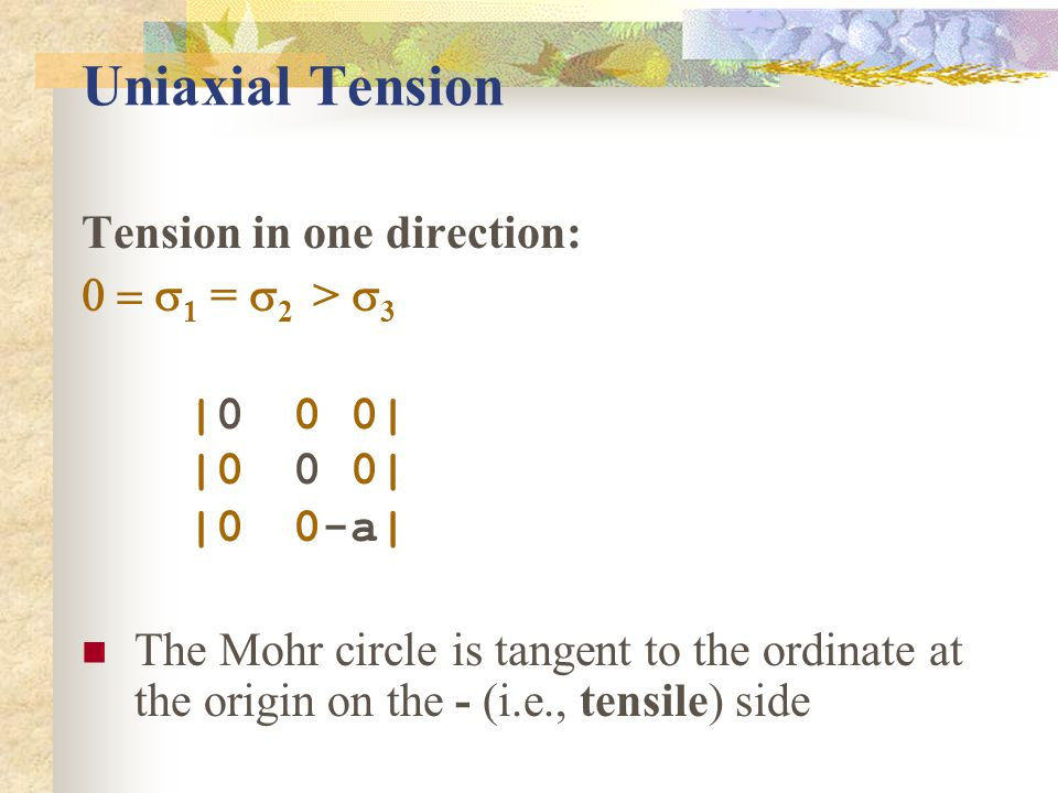 Uniaxial Tension Tension in one direction: 0 = s1 = s2 > s3 |0 0 0|