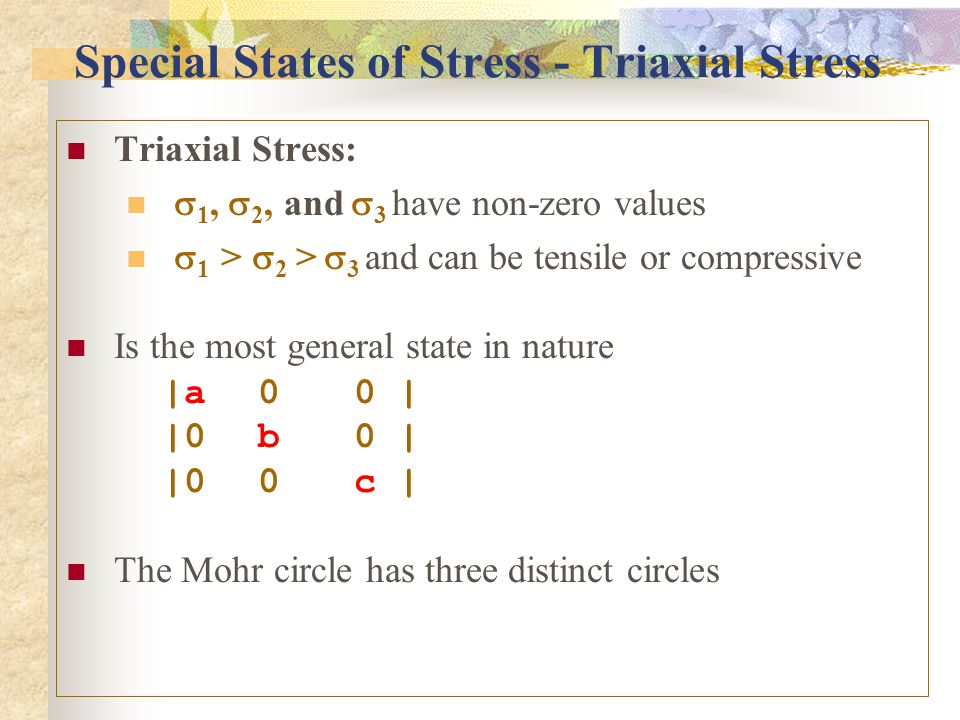Special States of Stress - Triaxial Stress