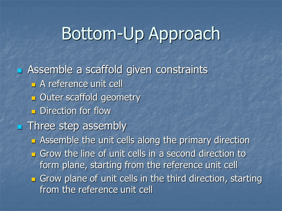 Bottom-Up Approach Assemble a scaffold given constraints