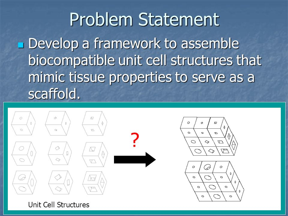Problem Statement Develop a framework to assemble biocompatible unit cell structures that mimic tissue properties to serve as a scaffold.