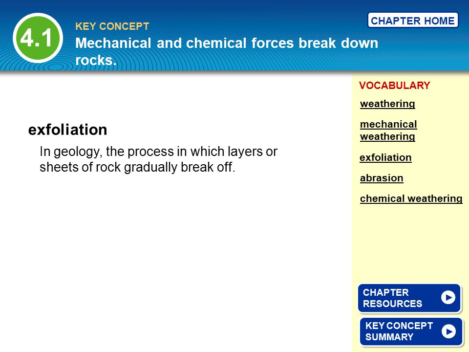 4.1 exfoliation Mechanical and chemical forces break down rocks.