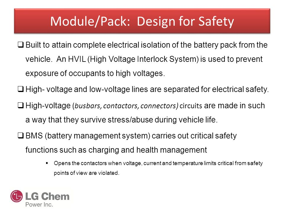 Safety design parameters for Li-ion propulsion batteries and