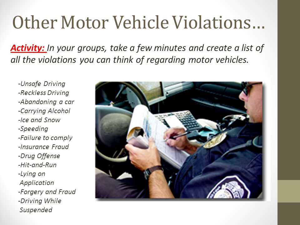 Other Motor Vehicle Violations…