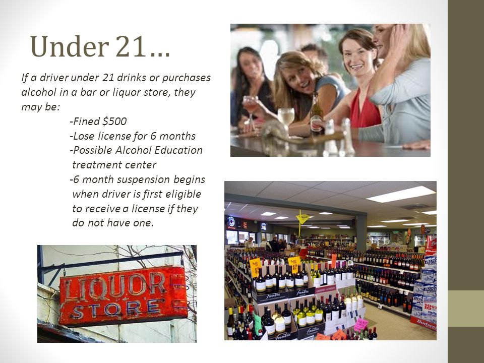 Under 21… If a driver under 21 drinks or purchases alcohol in a bar or liquor store, they may be: -Fined $500.