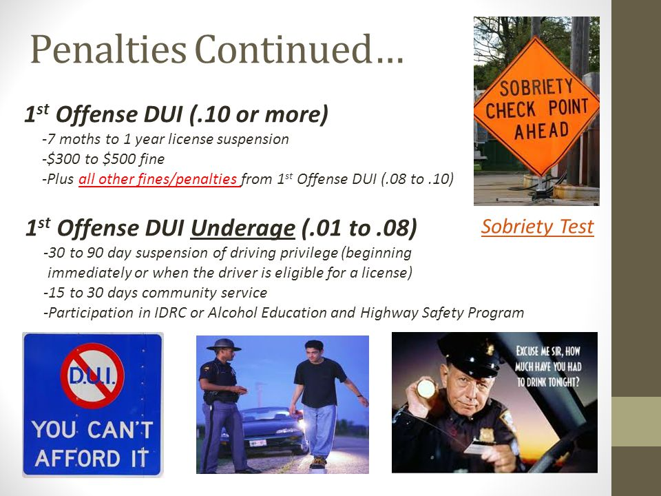 Penalties Continued… 1st Offense DUI (.10 or more)