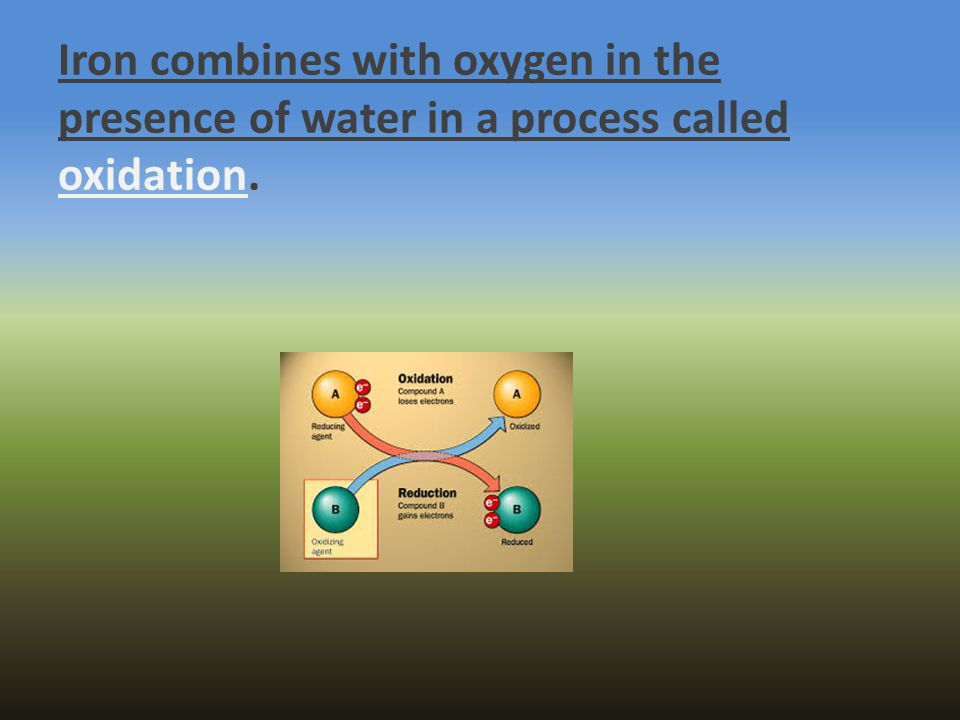 Iron combines with oxygen in the presence of water in a process called oxidation.