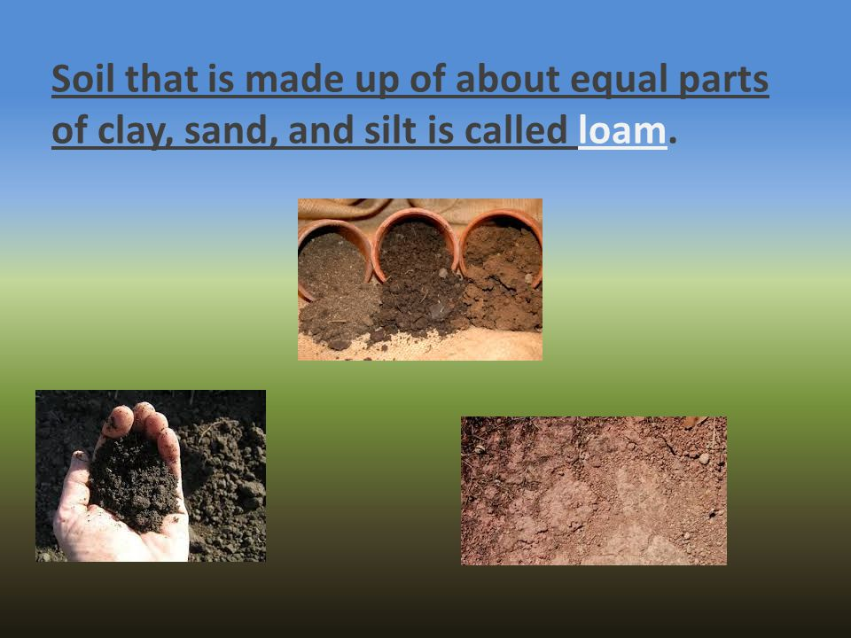 Soil that is made up of about equal parts of clay, sand, and silt is called loam.