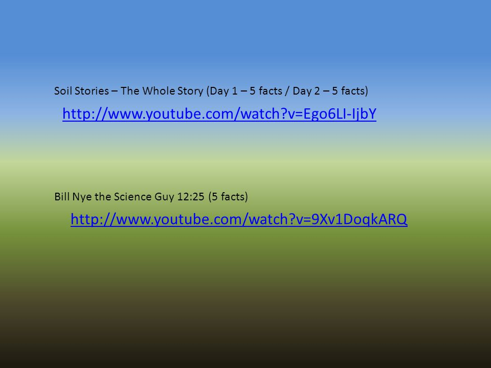 Soil Stories – The Whole Story (Day 1 – 5 facts / Day 2 – 5 facts)