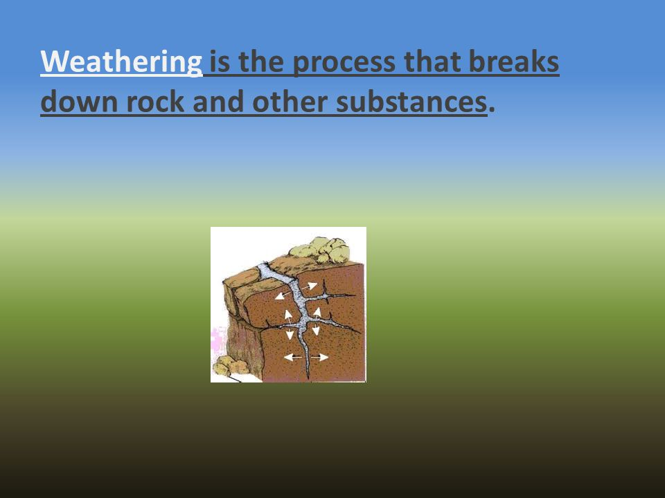 Weathering is the process that breaks down rock and other substances.