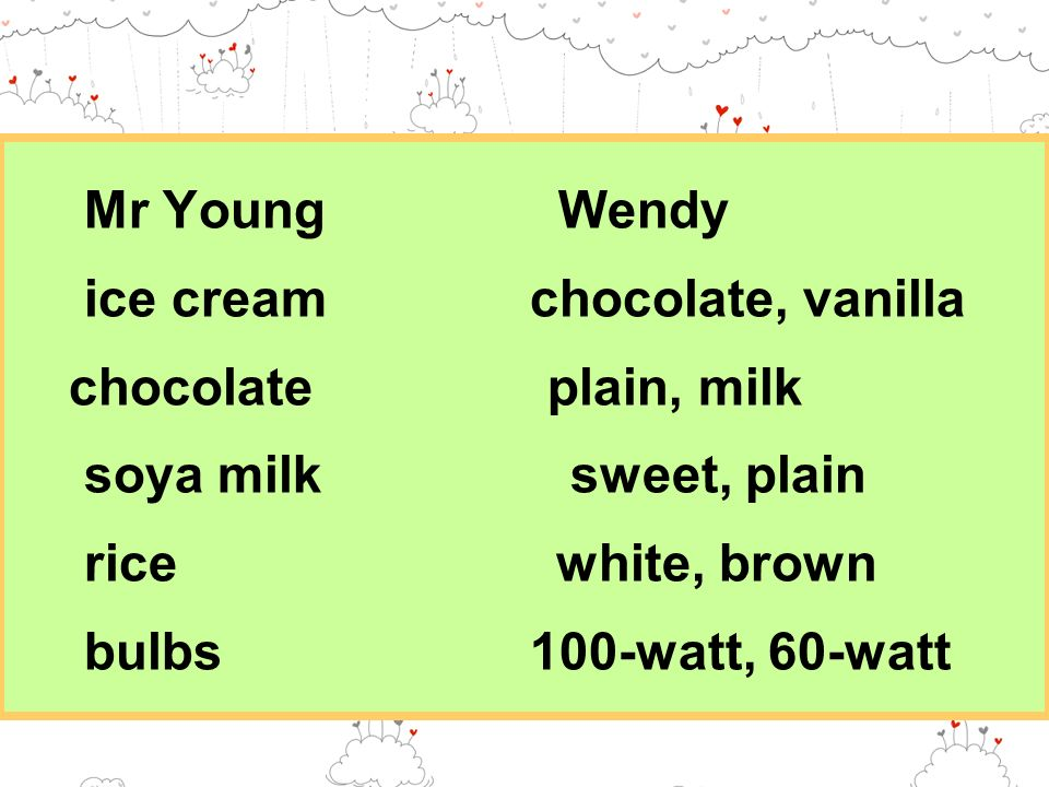Mr Young Wendy ice cream chocolate, vanilla chocolate plain, milk soya milk sweet, plain rice white, brown bulbs 100-watt, 60-watt