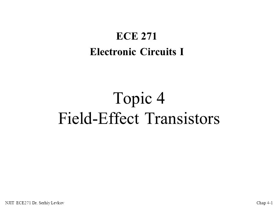 Topic 4 Field Effect Transistors Ppt Download