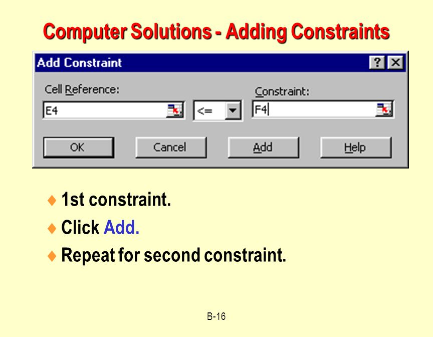 Computer Solutions - Adding Constraints