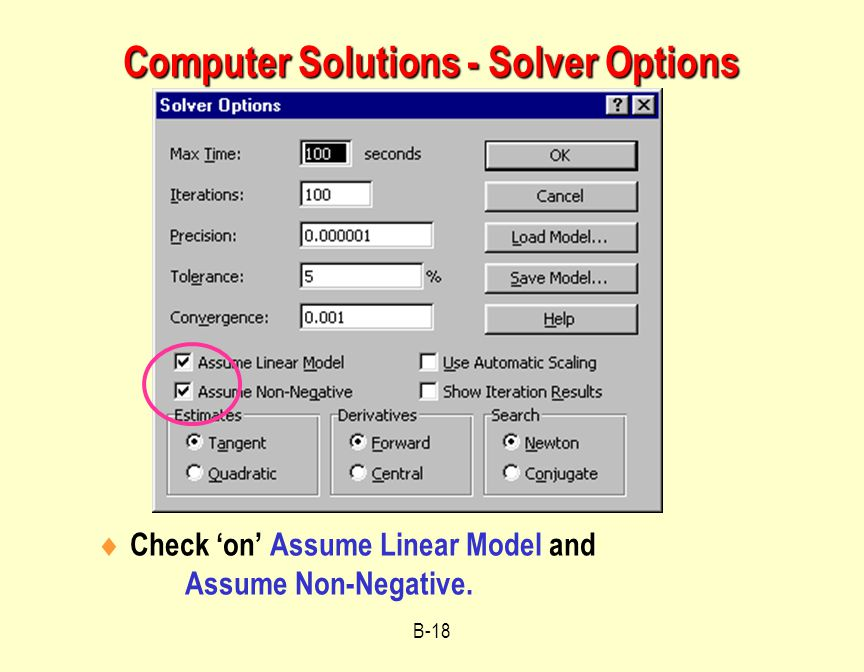 Computer Solutions - Solver Options