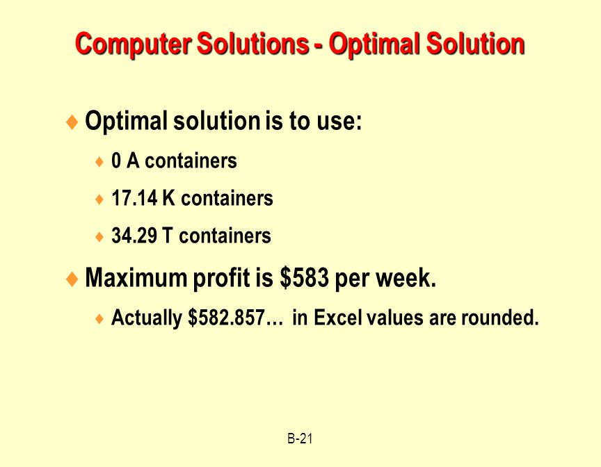 Computer Solutions - Optimal Solution