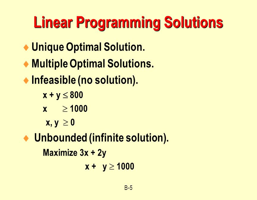 Linear Programming Solutions