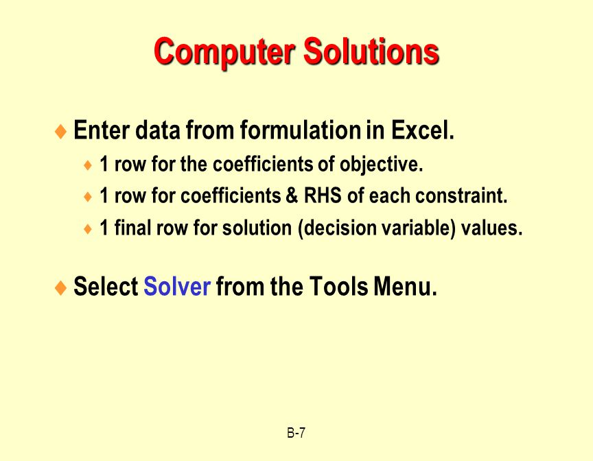 Computer Solutions Enter data from formulation in Excel.