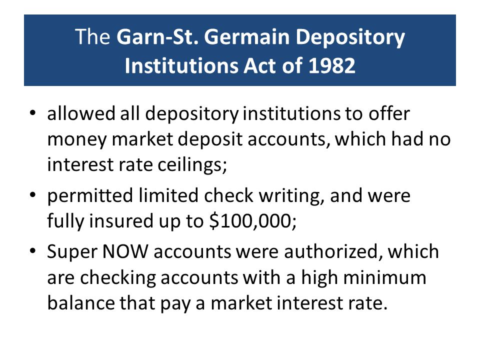 The Garn-St. Germain Depository Institutions Act of 1982