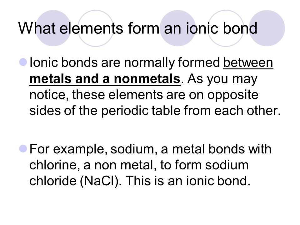 What elements form an ionic bond
