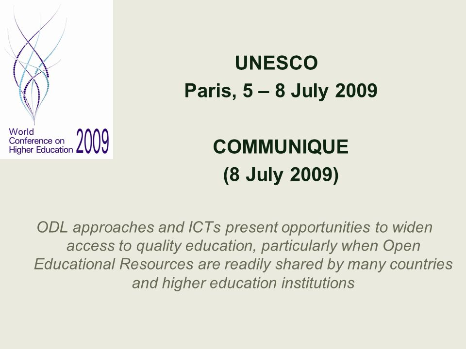 UNESCO Paris, 5 – 8 July 2009 COMMUNIQUE (8 July 2009)