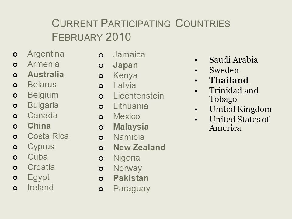 Current Participating Countries February 2010
