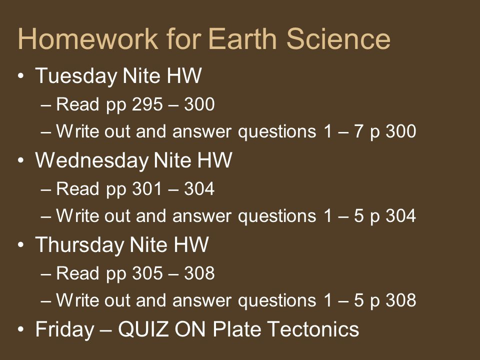 Homework for Earth Science