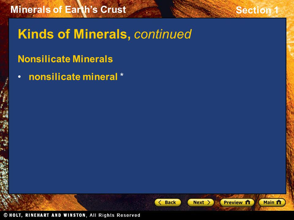 Kinds of Minerals, continued