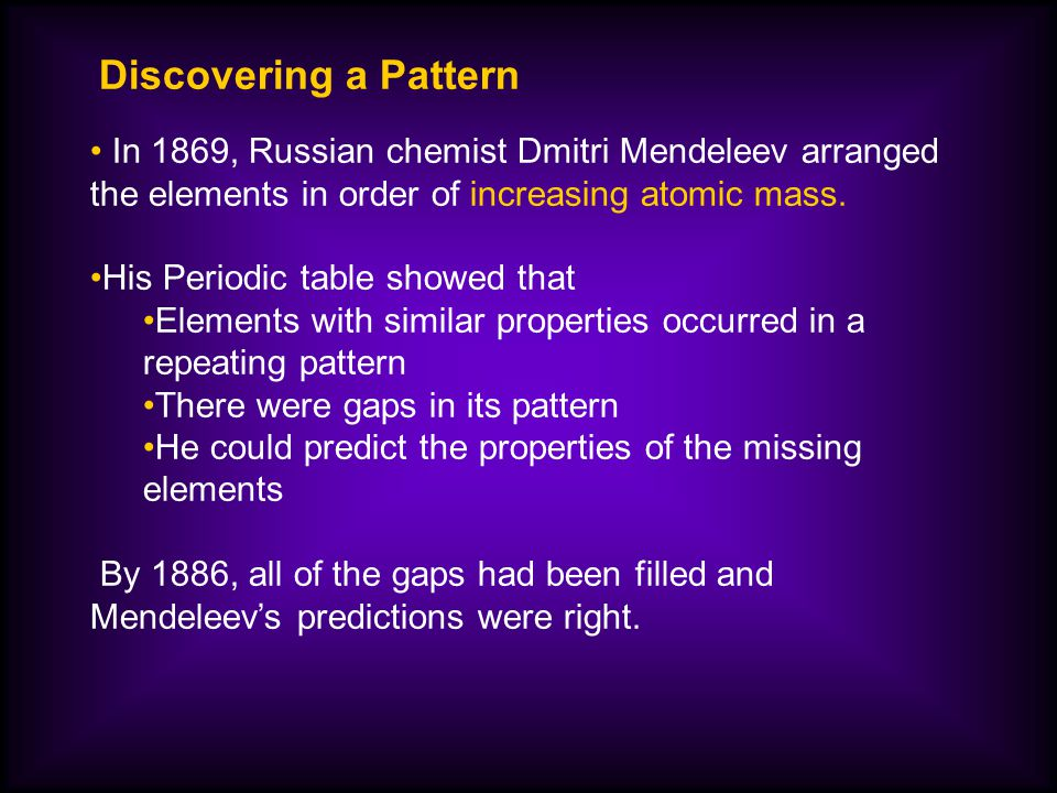 Discovering a pattern in 1869 russian chemist dmitri mendeleev discovering a pattern in 1869 russian chemist dmitri mendeleev arranged the elements in order of urtaz Gallery