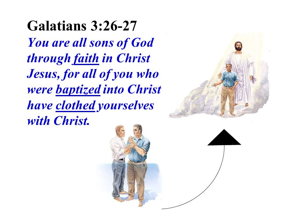 Galatians 3:26-27 You are all sons of God through faith in Christ Jesus, for all of you who were baptized into Christ have clothed yourselves with Christ.