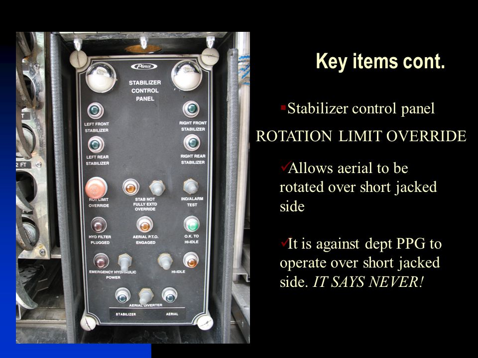 Key items cont. Stabilizer control panel ROTATION LIMIT OVERRIDE