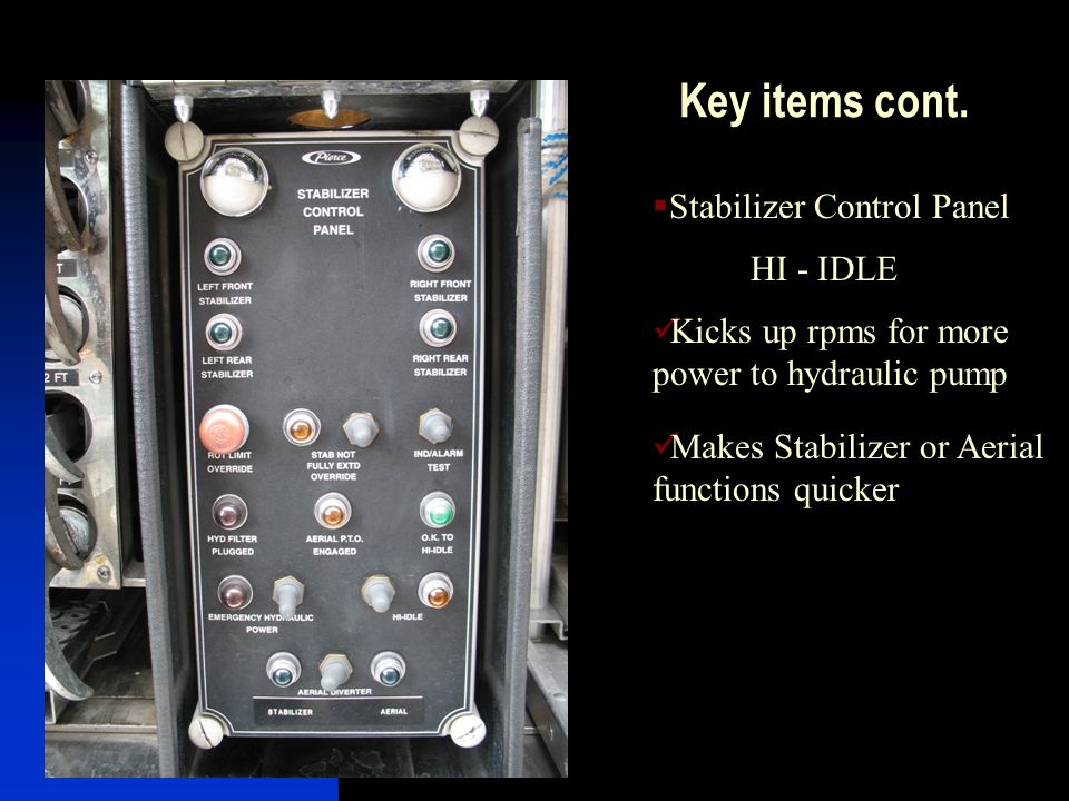 Key items cont. Stabilizer Control Panel HI - IDLE