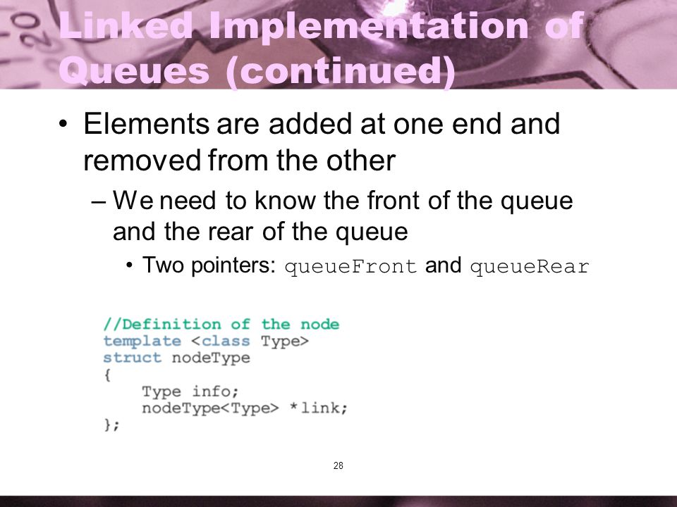 Linked Implementation of Queues (continued)