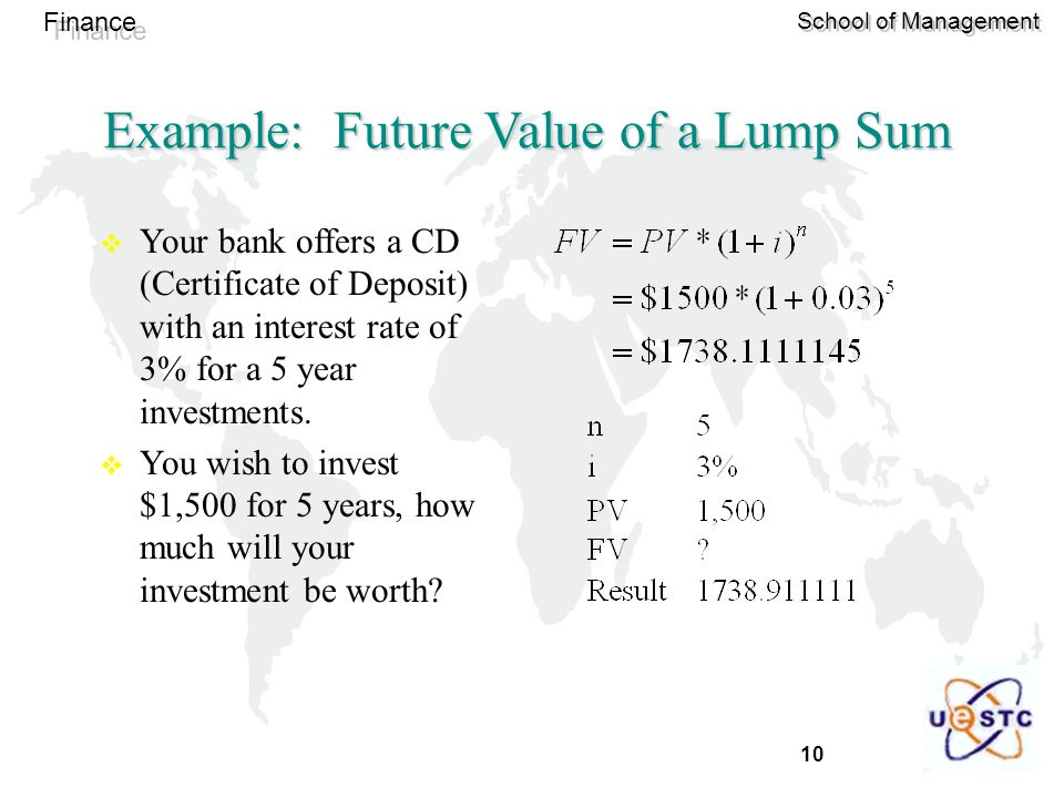 Example: Future Value of a Lump Sum