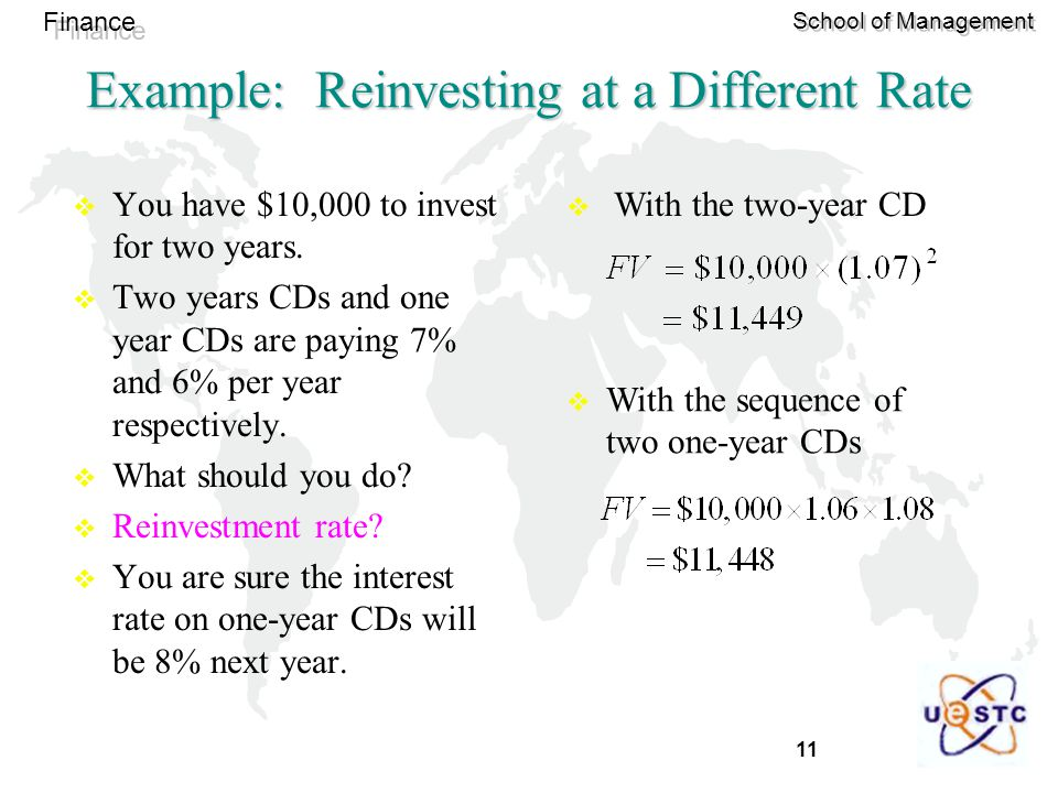 Example: Reinvesting at a Different Rate