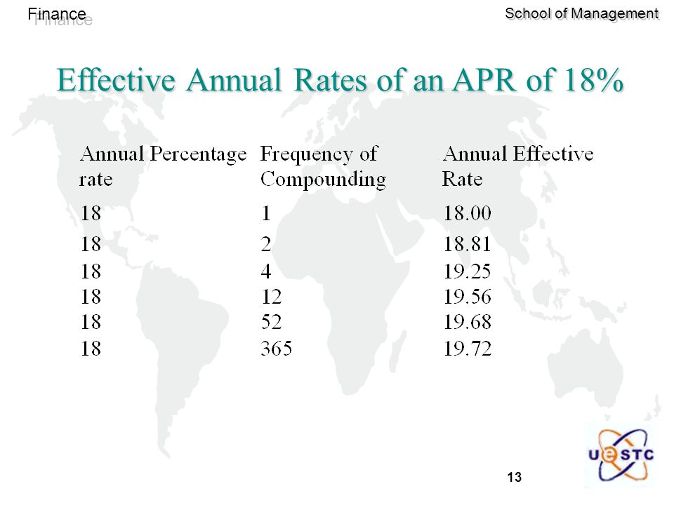 Effective Annual Rates of an APR of 18%