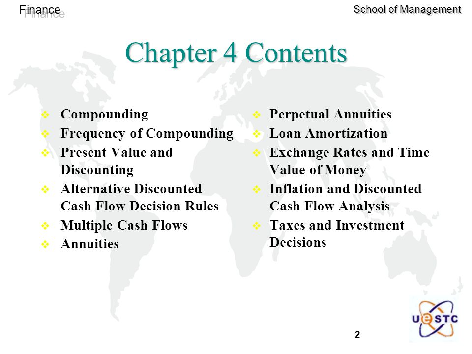 Chapter 4 Contents Compounding Frequency of Compounding