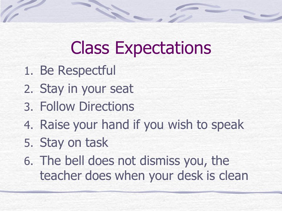 Class Expectations Be Respectful Stay in your seat Follow Directions