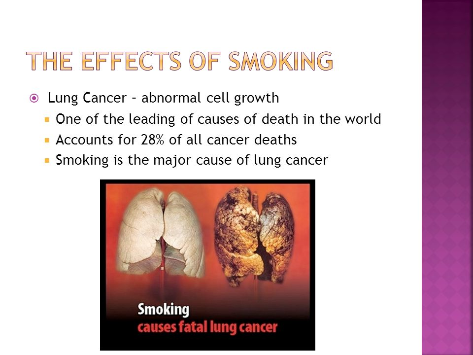 The effects of smoking Lung Cancer – abnormal cell growth