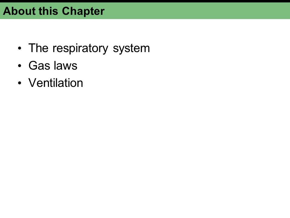 The respiratory system Gas laws Ventilation