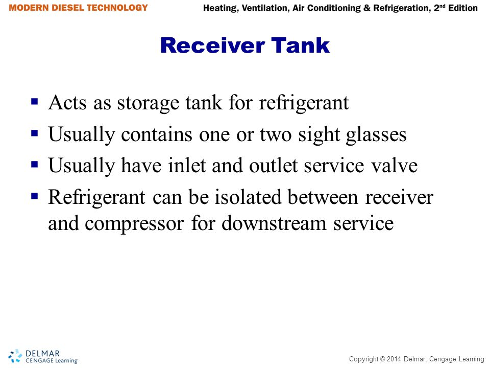 Receiver Tank Acts as storage tank for refrigerant. Usually contains one or two sight glasses. Usually have inlet and outlet service valve.