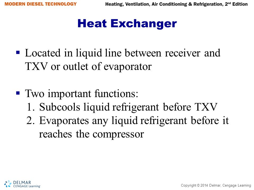 Heat Exchanger Located in liquid line between receiver and TXV or outlet of evaporator. Two important functions: