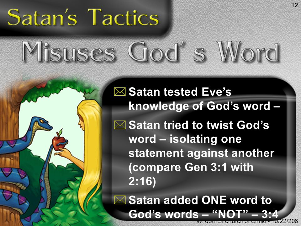 Satan tested Eve's knowledge of God's word –