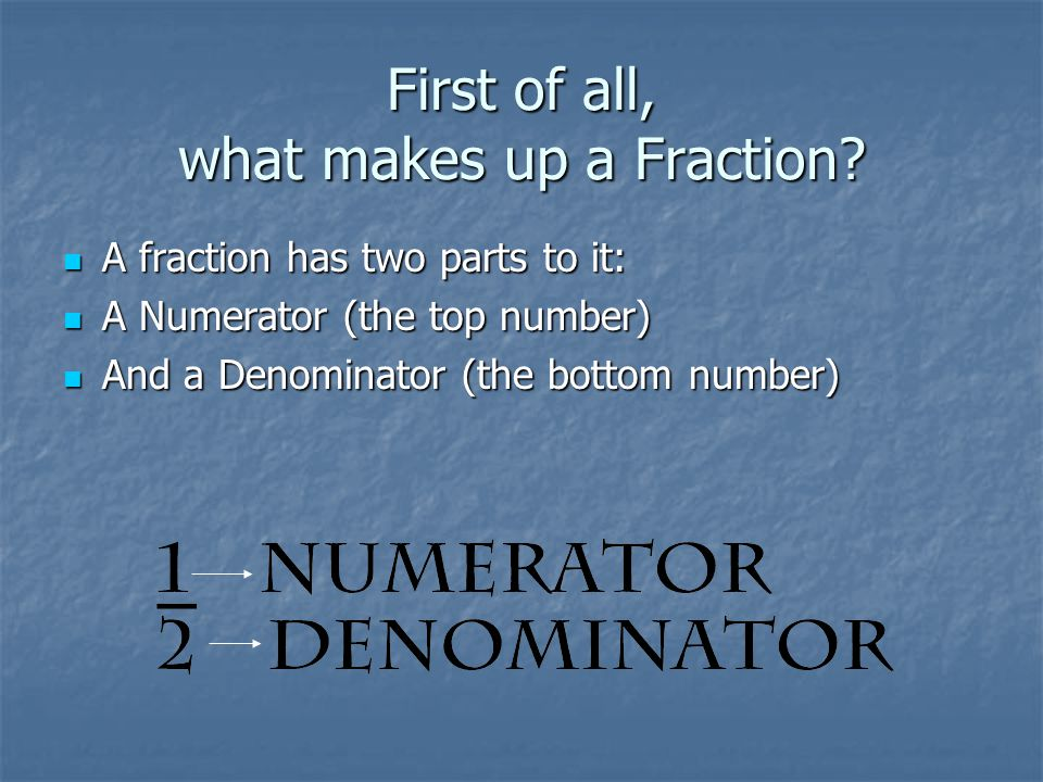 First of all, what makes up a Fraction