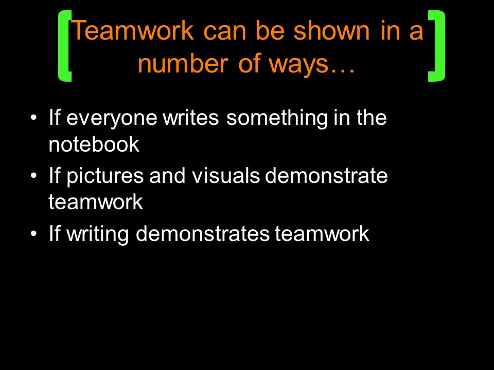 Teamwork can be shown in a number of ways…