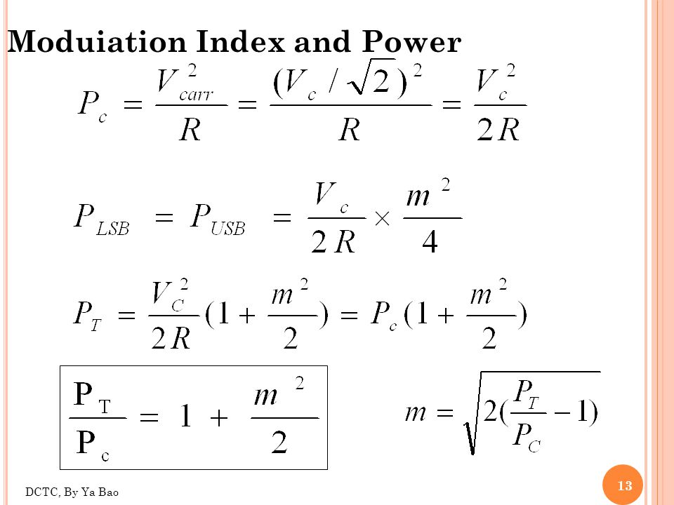 Moduiation Index and Power