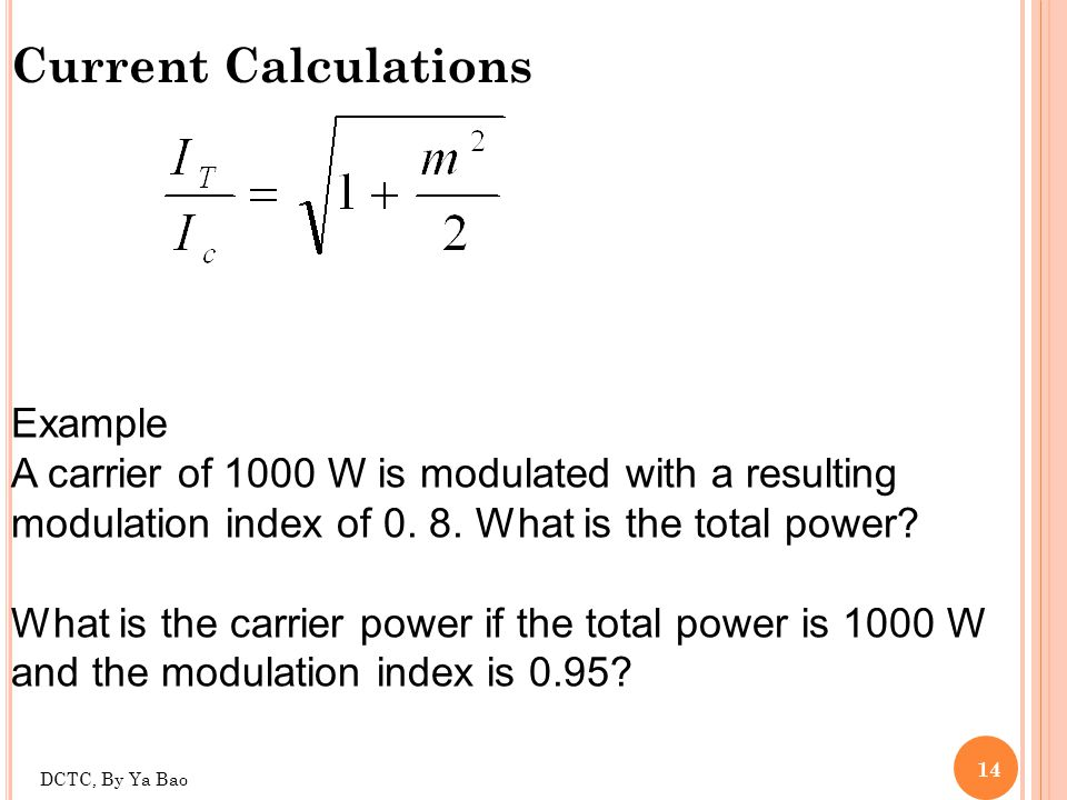 Current Calculations Example