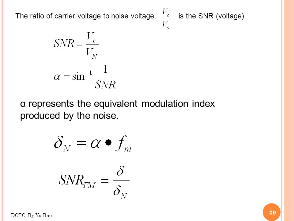 α represents the equivalent modulation index produced by the noise.