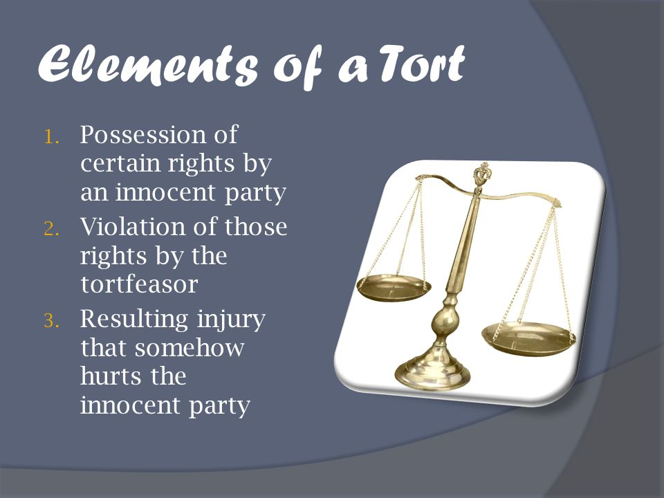 Elements of a Tort Possession of certain rights by an innocent party